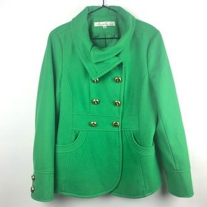 Kenneth Cole Green Wool Blend Peacoat, 10.